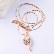 Gold Plated Teardrop with Swarovski Element Crystal Pendant Necklace - $22.00