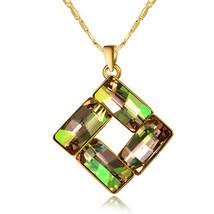 Gold Plated Square Pendent Charm Necklace with Swarovski Element Crystals - $25.00