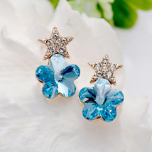 Star Studded Earrings with Blue Flower Shaped Swarovski Crystals - $16.00