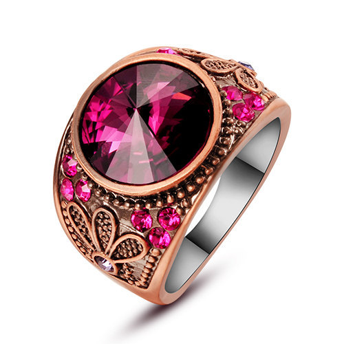 Magenta Swarovski Element Crystal Flower Designed  Copper Alloy Ring