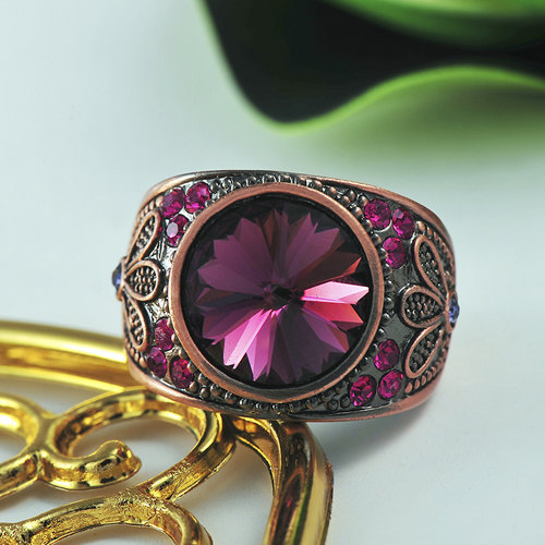 Magenta Swarovski Element Crystal Flower Designed  Copper Alloy Ring image 2
