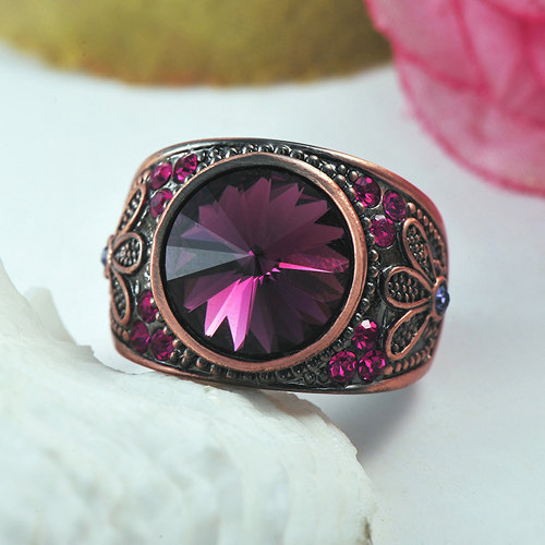 Magenta Swarovski Element Crystal Flower Designed  Copper Alloy Ring image 3