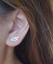 Leaf Earrings in Silver or Gold Laurel Leaf Mini Dainty Little Simple Stud Earri - $13.00