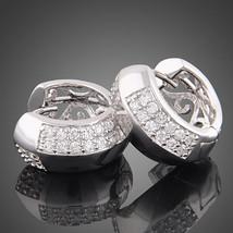 18k white Gold plated GP clear swarovski crystal hoop earrings - $15.00