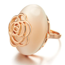 Rose Gold Opalite Fashion Ring With Rose Cut Out Detail - $23.00