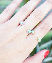 Turquoise Minimalist Dainty Ring Two Turquoise Stones Open One Size Fits Most Go - $14.20