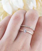 Double Crystal Ring Minimalist Simple Everyday Ring Pave Crystals Ring 2 in 1 Br - $16.20
