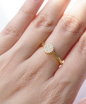 Single Pave Simple Round Bubble Gold or Silver Tone Everyday Ring - $15.00