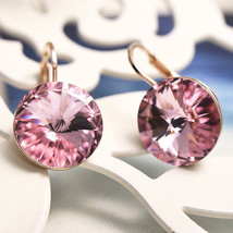 Rose Gold Plated Pink Zircon Crystal Lever-Backing Earrings - $18.00