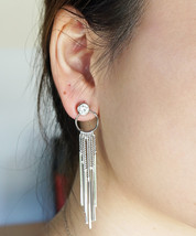 Rose Gold or Silver Crystal Drop Dangle Chain Tassel Glam Holiday Earrings - $14.00