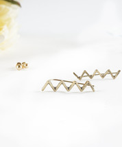 Ear Climber Ear Cuff Earrings Brushed Gold or Silver Antique Inspired Hipster Zi - $13.00