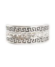 Geometric Swirl Silver Tone Crystals Casual Everyday Fashion Womens Ring - $18.00