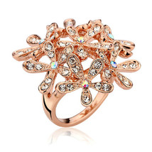 Bouquet of Poppies Crystal Pave Stone Rose Gold Tone Ring - $16.00