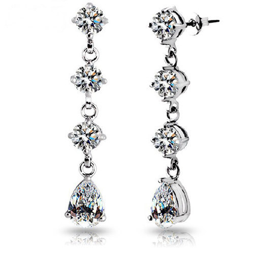 18k White Gold Plated Round and Pear Shaped Swarovski Element Crystals In Drop F