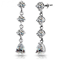 18k White Gold Plated Round and Pear Shaped Swarovski Element Crystals I... - $23.00