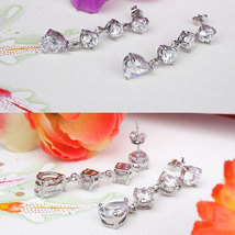 18k White Gold Plated Round and Pear Shaped Swarovski Element Crystals In Drop F image 2