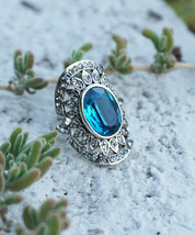 Vintage Inspired Shield Ring with Vibrant Ocean Blue Colored Stone - $18.00