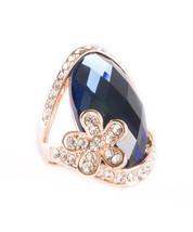 18k Gold Plated Blue Sapphire Crystal With Austrian Crystals Statment Ring - $16.00