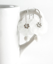 White Floral Earrings, White Moon-Flower With Zirconia Crystals And Traditional  - $22.00