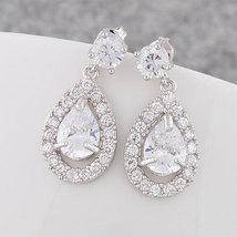 Graceful Sparkling 18k White Gold GP Swarovski Crystal Tear Drop Dangle Earrings image 2