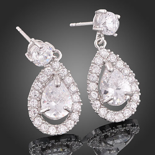 Graceful Sparkling 18k White Gold GP Swarovski Crystal Tear Drop Dangle Earrings image 3
