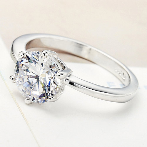 Primary image for Solitaire Clear Round Swarovski Crystal Engagement/ Promise Ring