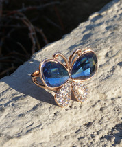 Hand-Made Butterfly-Shaped Rose Gold Plated Sapphire Fashion Ring - $16.00