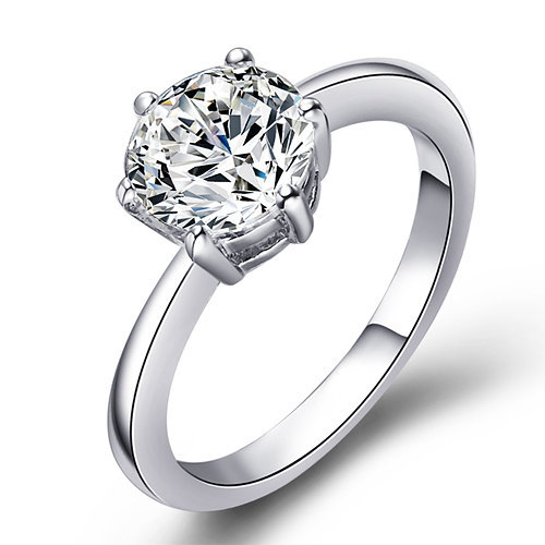 Solitaire Clear Round Swarovski Crystal Engagement/ Promise Ring image 2