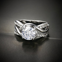 Twisted Silver  Alloy with Czech Crystal Ring - $19.00