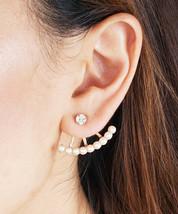 Simple Everyday Crystal and Pearl Ear Crawler Ear Jacket Earrings - $12.00