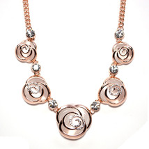 Rose Gold Plated White Rosette Flower Chain Necklace - $25.00