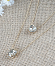 Light Charcoal Grey Double Layered Crystal Cube Gold Tone Minimal Thin Chain Fas - $20.00