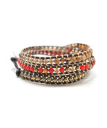 """HOLIDAY CLEARANCE SALE! The Daring One - 23"""" Red and Tan Multicolor Bead... - $11.95"""