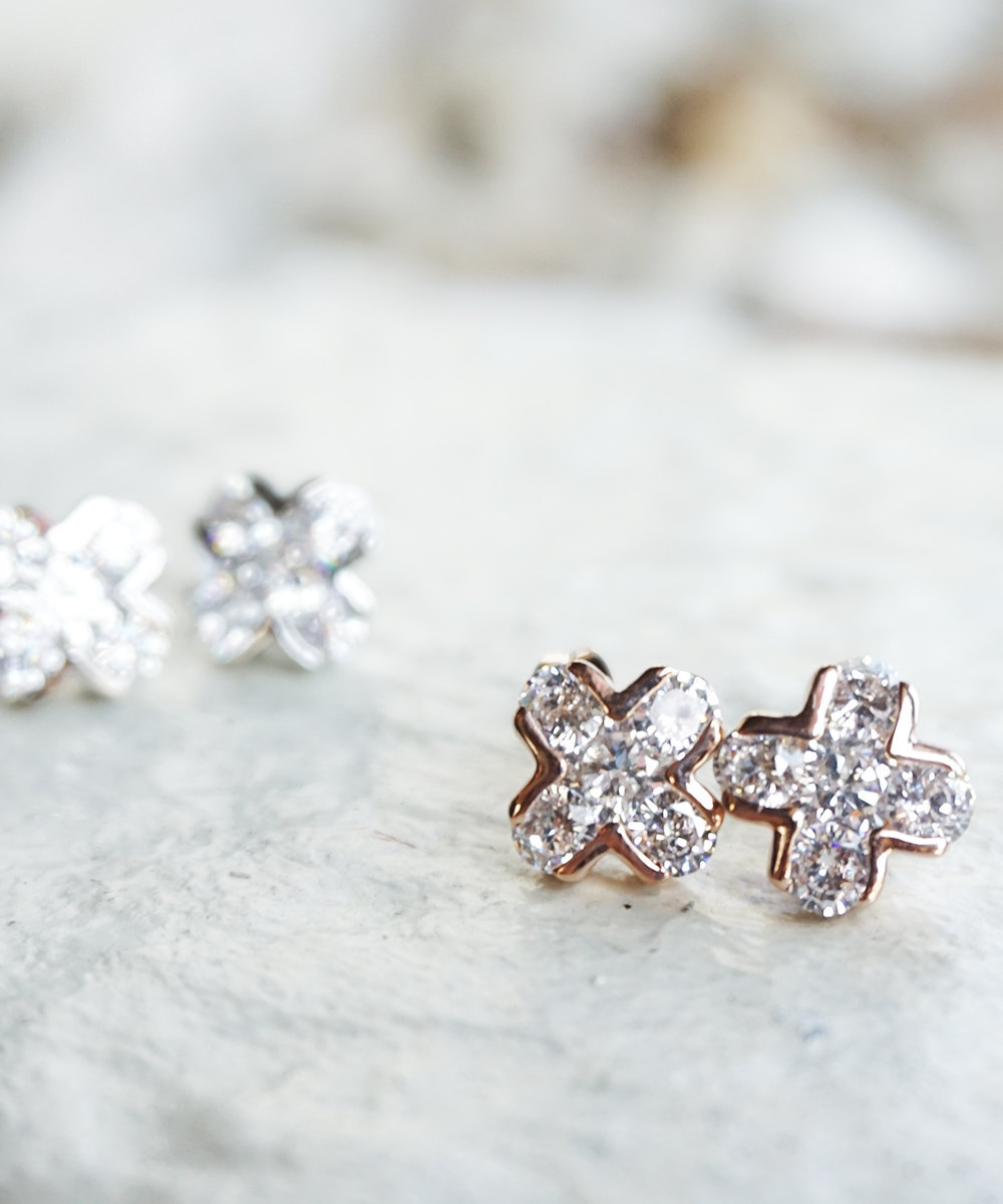 Rose Gold or Silver Cross Crystal X Stud Earrings - $18.00