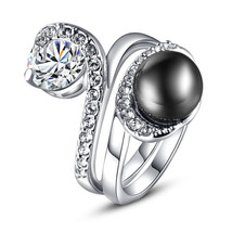 Classic Imitation Black Pearl Ring With Zircon Crystals Set On A White Gold Plat - $26.00