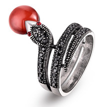Snake Shaped Ring With Black Czech Crystals And Ruby Red Gems - $24.00