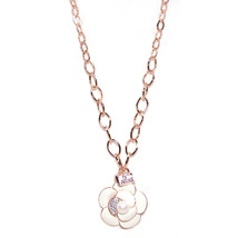Rose Gold Plated White Flower with Pearl & Swarovski Element Crystal Cha... - $26.00