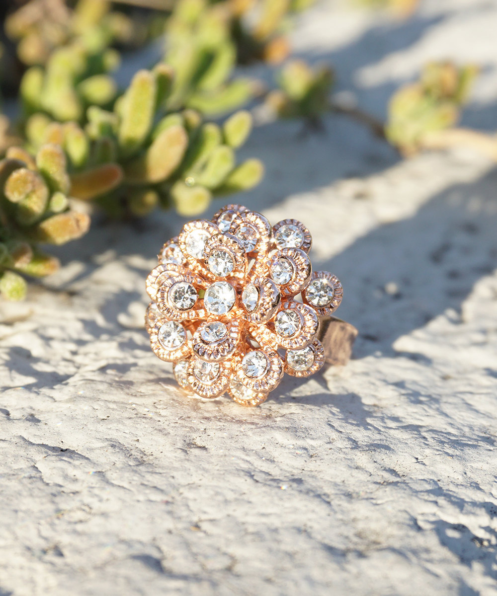 Marigold Inspired Rose Gold Plated Ring With Swarovski Element Crystals