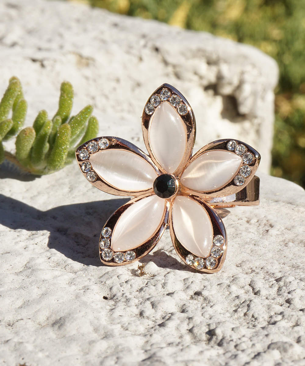 Hawaiian Plumeria Inspired Flower Ring With Rose Gold Inlay and Swarovski Crysta