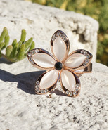 Hawaiian Plumeria Inspired Flower Ring With Rose Gold Inlay and Swarovsk... - $14.00