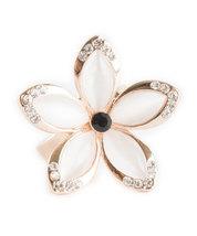 Hawaiian Plumeria Inspired Flower Ring With Rose Gold Inlay and Swarovski Crysta image 2