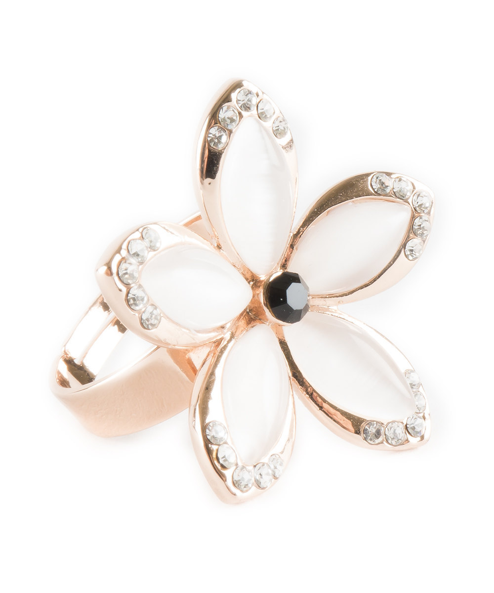 Hawaiian Plumeria Inspired Flower Ring With Rose Gold Inlay and Swarovski Crysta image 3