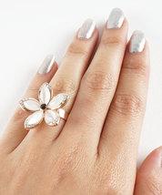 Hawaiian Plumeria Inspired Flower Ring With Rose Gold Inlay and Swarovski Crysta image 4