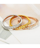 Trinity Curve Pave Crystal Stacking Ring Set In Gold/Silver/Bronze - $24.00