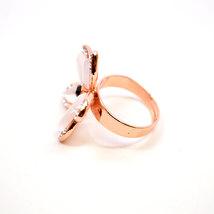 Hawaiian Plumeria Inspired Flower Ring With Rose Gold Inlay and Swarovski Crysta image 5