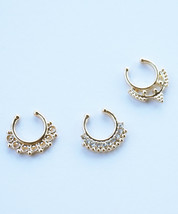 Gold Tone Ethnic Tribal Faux Septum Fake Clip On Hanger Nose Ring SET OF 3 - $18.00
