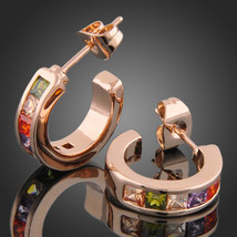 Rose Gold Finish Alloy Zircon Color Crystal Huggie Earrings - $22.00