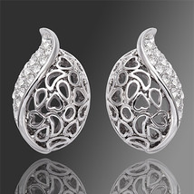 Swarovski crystal 18k white Gold plated cute Shell earrings - $16.00