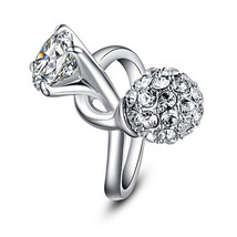 Silver Finish Twisted Single Czech Crystal with Bouquet Designed Jewelry Ring - $25.00