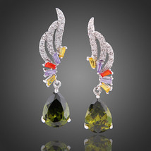 Fancy 18k White Gold GP Peridot Inspired Swarovski Crystal Party Danglin... - $24.00